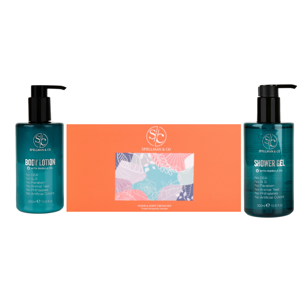 body lotion, shower gel and and foot cream set