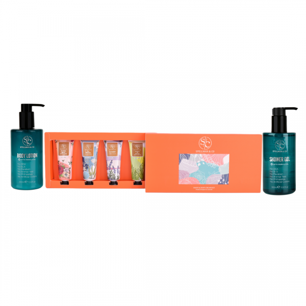 body lotion, hand and foot cream set and shower gel