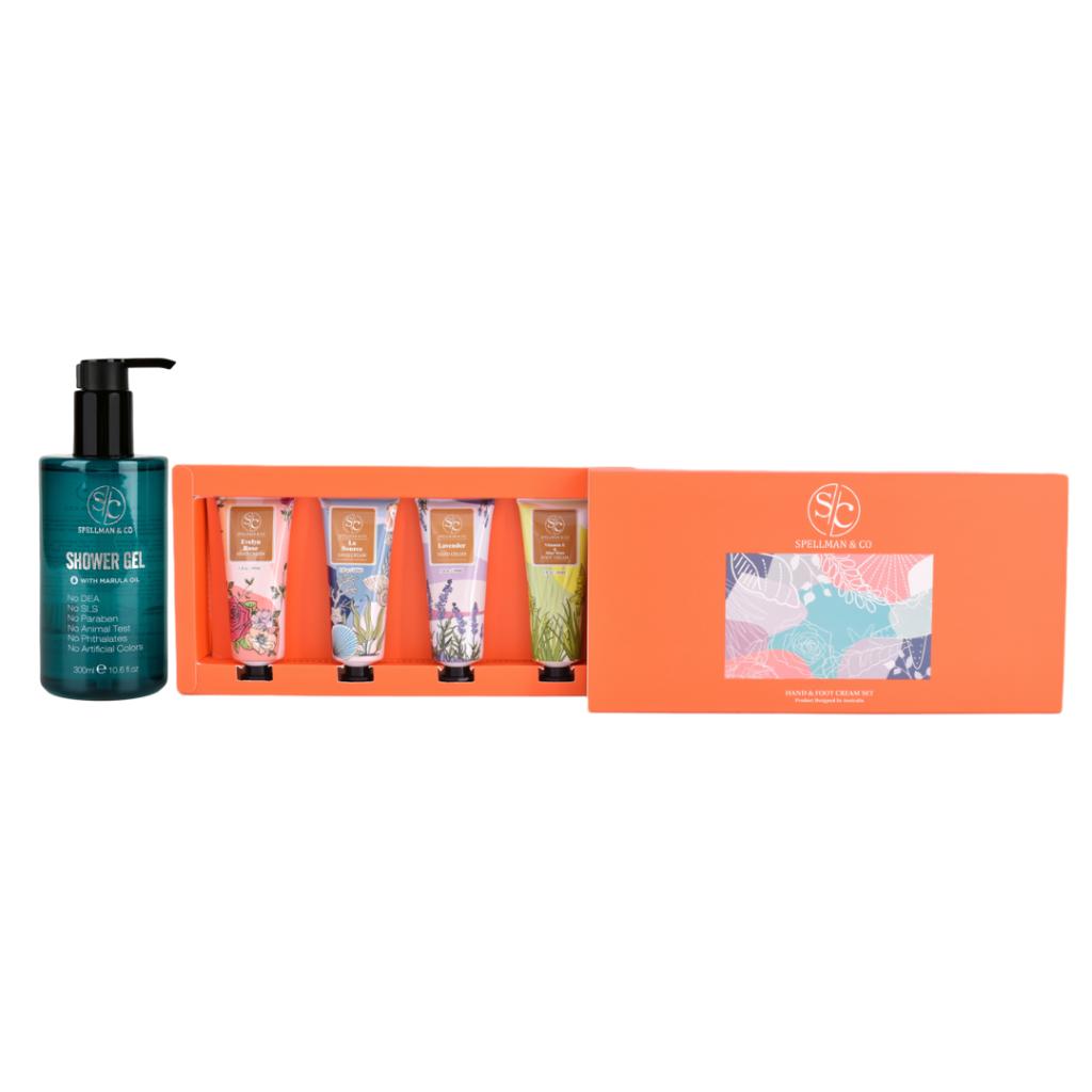 shower gel plus hand and foot cream set